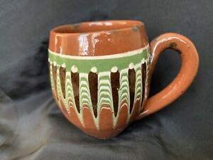 """Vintage Bulgarian Troyan Red Pottery Mug Cup Hand Made 3.5"""" Tall"""