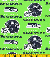 NFL SEATTLE SEAHAWKS GREEN PRINT 100% COTTON FABRIC BY THE 1/4  YARD