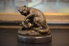 BRONZE STATUE, 2 Cats MOTHER PLAY WITH KITTY