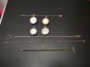 KONVOLUT 4  alte & antike Taschenuhren auch  Silber, mit Uhrenketten