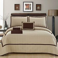 Antoine 8 Piece Quilted Bed in a Bag Sheets Decorative Pillows Shams Beige