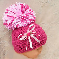 HAND CROCHETED PINK POMPOM HAT BABY GIRLS beanie knit romany bling 2 photo prop