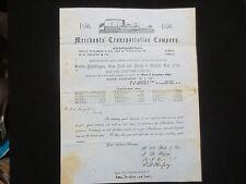 MERCHANTS` TRANSPORTATION  CO. STEAMSHIP ADVERTISING LETTERHEAD 1850 BUFFALO NY