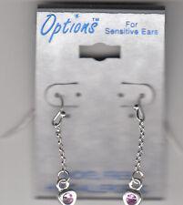 Earrings, Pierced Dangle Heartsfor Sensitive Ears w/Pink,Hypo Allergenic, New