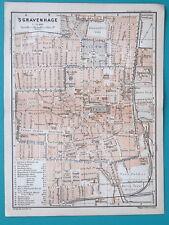 """1905 BAEDEKER MAP - HOLLAND Hague Haag sGravenhage Plan 6 x 8"""" (15,5 x 21 cm)"""