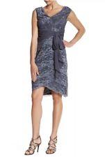 NWT Marina Cap Sleeve Tiered Silhouette Lace Dress Gun Metal Grey Size 6 Chiffon