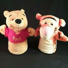 """Winnie the Pooh and Tigger Plush Hand Puppets 9"""" Pair Preschool Play Therapy Toy"""