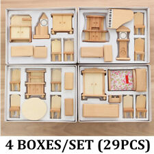 29Pcs 3D 1:24 Scale Dollhouse Miniature Unpainted Wooden Furniture Child Gift
