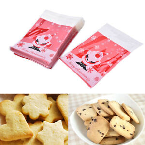 20Pcs Christmas Cookies Bags Self Adhesive Decorated Biscuits Candy Gift Bags