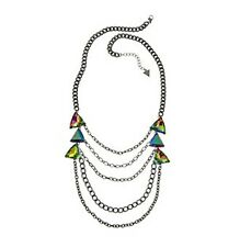 """NWT Guess Black Metal """"Aurora"""" Iridescent Rhinestones Draping Chains Necklace"""