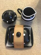 Halloween Terramoto Creamer Sugar Butter Dish Black& White Polka Dot Set