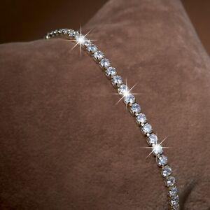 18k yellow gold gp made with SWAROVSKI crystal beaded chain slim tennis bracelet