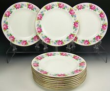 BEAUTIFUL SHELLEY GOLD ROSES & FORGET ME NOT DINNER PLATES SET OF 12