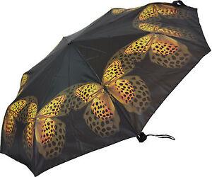 Artbrollies Ladies Compact Folding Umbrella -  Yellow Butterfly
