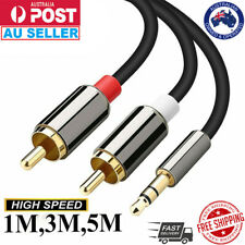 2 RCA Male Plug to 3.5mm Female Aux Audio Headphone Jack Converter Adapter Cable