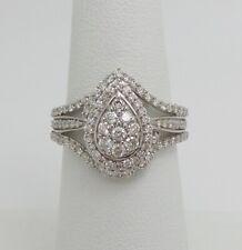 1CT Diamond Halo Solitaire Engagement Wedding Bridal Ring Band 10K White Gold
