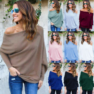 UK Womens Off Shoulder Jumper Baggy Ladies Tops Chunky Knitted Sweater Plus Size