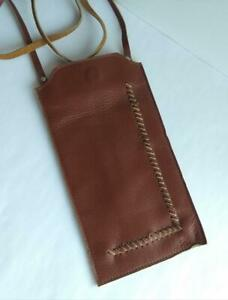 Handmade Block Brown Leather Phone Lanyard Neck Carry Case Rare - Android iPhone