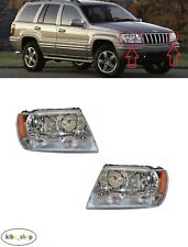FOR JEEP GRAND CHEROKEE WJ 1999 - 2004 FRONT ELECTRIC HEADLAMPS PAIR L + R LHD