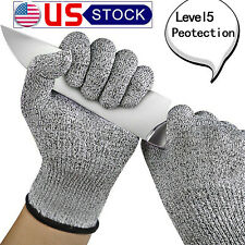 2 Pair Safety Cut Proof Stab Resistant Butcher Gloves Kitchen Level 5 Protection