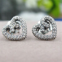 Authentic 100% 925 Sterling Silver Heart Swirls Clear CZ Stud Earrings