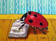 Ladybug Reading picture insect signed art print 11 oz