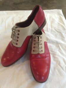 Fratelli Rossetti womens lace up Flats sz 10 sz 40 red leather & linen oxfords
