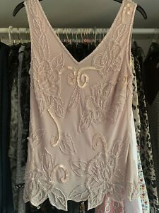 Pink Monsoon Pure Silk Lined Sequin Top Size 12