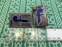 """Pair Of Two Antique Art Nouveau Enamel Letter """"F"""" Button Plaques FREE SHIPPING"""