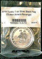 2019 Tuvalu Pirate Blackbeard 1 oz Silver Coin Black Flag Queen Anne's Revenge