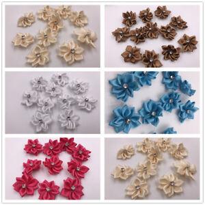 28mm Satin Ribbon Flower Bow Rhinestone Appliques DIY Craft Wedding Supply