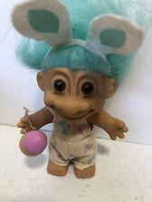 "Russ Troll Doll 4.5"" Bunny Artist Aqua Hair, Aqua Bunny Ears, Egg, Stickered"