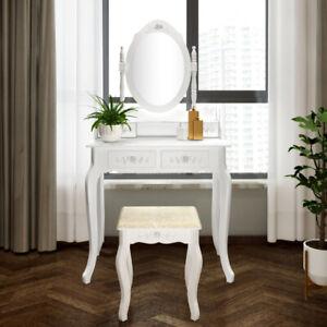 Modern Concise 4-Drawer 360-Degree Rotation Removable Mirror Dresser White