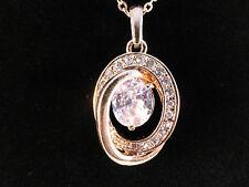 Cristalli austriaci 18K PLACCATO ORO GRANDE CRISTALLO all' interno di spumante Collana Oval