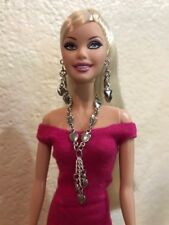 Handmade Jewelry for Barbie Silver Hearts Necklace and Earrings