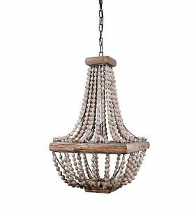 """Creative Co-Op Metal Chandelier with Wood Beads, 16.5"""" Square by 28"""" Height"""
