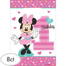 MINNIE MOUSE Fun to Be One FAVOR BAGS (8) ~ 1st Birthday Party Supplies Plastic