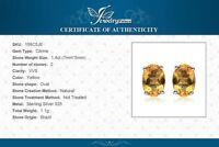 1.4ct Genuine Citrine Stud Sterling Silver Earrings UK Seller