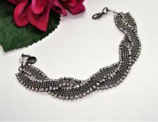 Gorgeous! ALFANI Gunmetal Silvertone & Sparkly Clear Rhinestone Twist Bracelet!