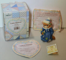 """Calico Kittens """"Silent Night"""" Kitten in Blue Coat with Candle 1995 Enesco 144622"""
