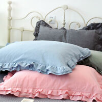 2 X 100% Cotton Pillowcase Striped Pillow Slip Frill Only Cover Retro Bedding