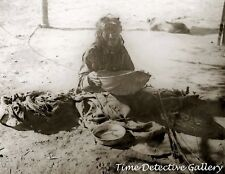 Yokut Woman Sifting Cornmeal,Tule River Reservation, Calif c1900- Historic Photo