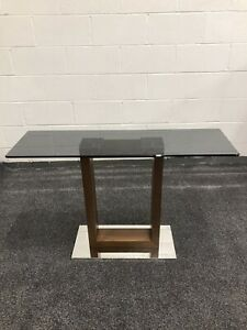 Greenapple Hazel Console Table Smoked Glass, Chrome, Dark Wood RRP412 - Can Del