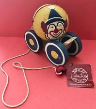 BRIERE Design Studios, Folk Art Pull Toy, Clown Ball and Wooden Cart, 1988  #403