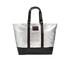 NWT VICTORIA'S SECRET METALLIC SILVER LARGE CANVAS WEEKENDER TOTE BAG LIMITED