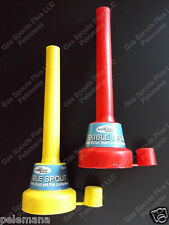 2 New Flexible Spouts w/ Airtight Caps Funnel Shop Rubber Fluid Gas Oil Fuel Can
