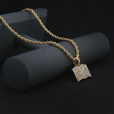 "14k Gold Plated Hip-Hop ( Holy Bible ) Pendant 4mm 24"" Rope Chain Necklace Np"