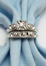 Elegant 14K Karat Solid White Gold Ladies Wedding Set Ring With Diamonds