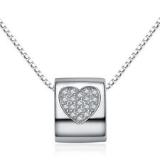 Pendant Charm Necklace Chain Box 18 Women 925 Sterling Silver Heart Lucky Beaded
