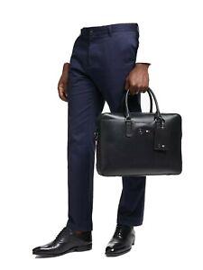 Tommy Hilfiger Mercedes-Benz Black Leather Computer Briefcase Attache Bag